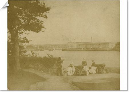Fox Talbot 'sun picture' or Talbotype view from Mount Edgcumbe looking over to the Royal William Yard, Plymouth, Devon