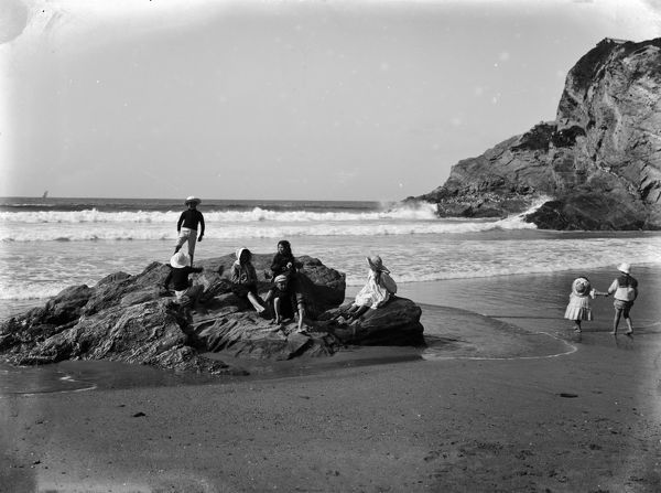 A group of eight children on either Great Western Beach or possibly Tolcarne Beach. Photographer: John Charles Burrow
