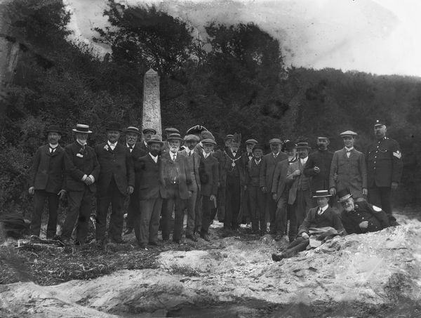 Group, including the Mayor and town crier, at Messack Point which is opposite Channels Creek at Trelissick, Feock. Beating the Bounds is an old tradition whereby officials of the parish share their knowledge of the boundaries of their territory
