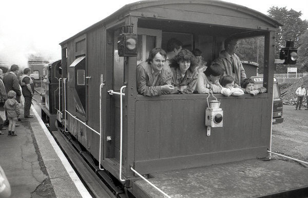 At an open day at Bodmin General station visitors get a ride in a guards van