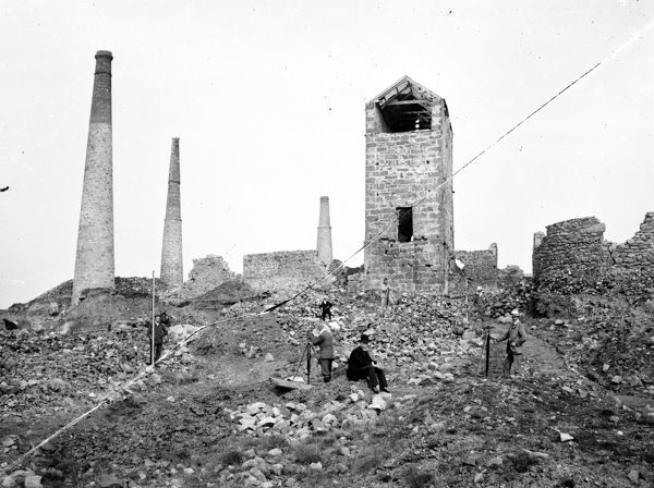 Botallack mine, St Just-in-Penwith, Cornwall. Surveying at Surface, 1903.. © RIC