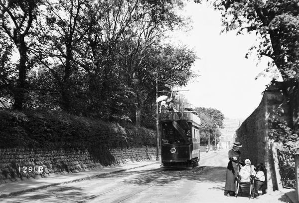 Double decker open top tram number 4 in the summer of 1904, in the West End of Redruth. Photographer: Arthur Philp
