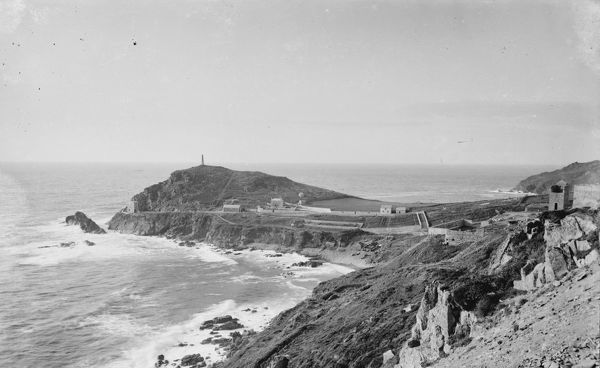 Distant view of Cape Cornwall with Little Bounds on the right, all derelict. © RIC