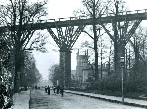 View south down St George's Road of Isambard Kingdom Brunel's original timber fanned viaduct. This viaduct was replaced by an all stone structure which opened on the 17 August 1902. St George's church can be seen on the right