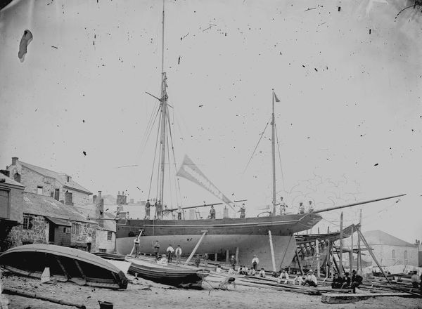 Casabianca under construction, St Ives, Cornwall. 1877
