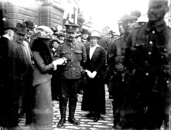 First World War Devon & Cornwall Light Infantry soldiers and civilians outside City Hall, probably a recruiting campaign. Photographer: Arthur William Jordan