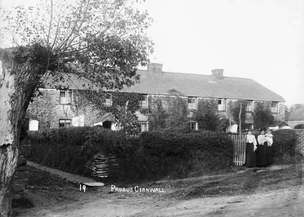A row of slate-roofed cottages with front gardens on the northern side of the main street just east of Trunk Hill opposite the 'old cottage'. Two ladies, one holding a young child, stand by a garden gate. Photographer: Samuel John Govier