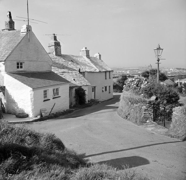 View of cottages at Trenale Lane. Signage for W. Harris, Trenale, Tintagel, Builder and Decorator can be seen on the left and a sign for Old Chapel House is on the right. Photographer: Charles Woolf