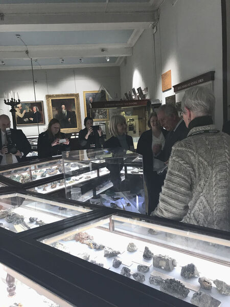 The Duke of Cornwall talks to the Professor of Applied Mineralogy at the University of Exeter's Camborne School of Mines about some of the important Cornish minerals on display in the Rashleigh Gallery and their relevance to geosciences today