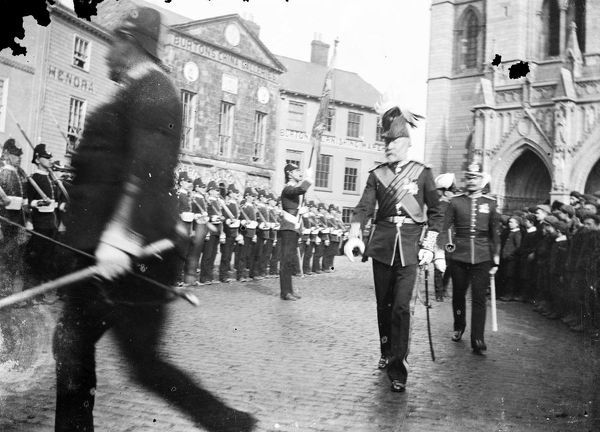 Col Arthur Tremayne of Carclew marching in Truro. Col Tremayne fought at the Battle of Balaclava in the Crimean War and died on 7th November 1903. Photographer: Samuel John Govier