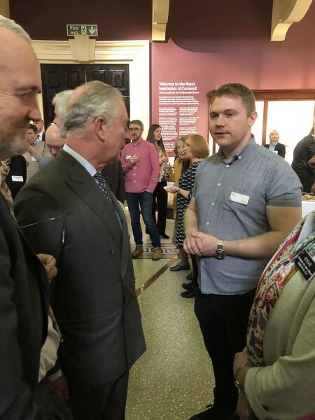 The Duke of Cornwall meets Royal Cornwall Museum's Operations Officer as the Chairman of the Royal Institution of Cornwall looks on. The Exhibitions Officer / Assistant Collections Manager, Portable Antiquities Scheme Finds Liaison Officer for Cornwall