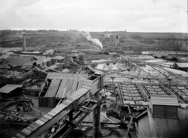 Surface view of East Pool mine works, from East Pool stamps. Photographer: John Charles Burrow or Herbert Hughes