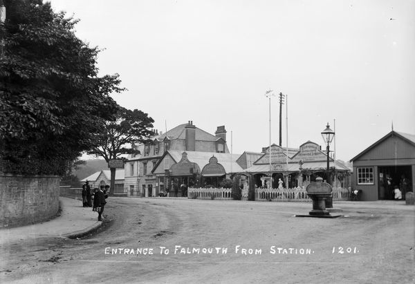 Entrance to Falmouth from the station at Bar Road. Picture shows Doney & Son, monumental mason. Photographer: Arthur Philp