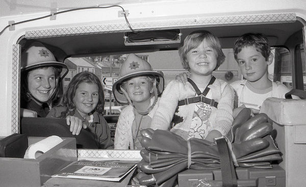 Five youngsters explore Lostwithiel's fire engine during an open day held at the fire station, which was sited at the bottom of Bodmin Hill before moving to a new site at the old cattle market site. From left to right: Jessica and Rachel Hocking