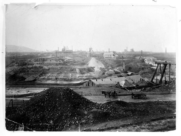 General view looking east with the Eastern shaft cutting the skyline in the centre. Photographer J C Burrow