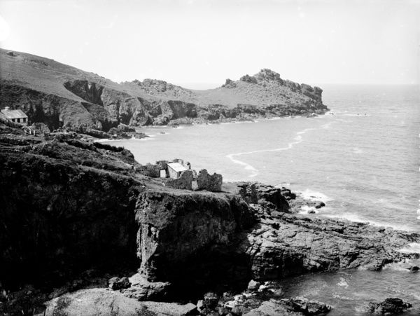 Gurnard's Head from the footpath on the east side. Cottage and ruin in the middle distance. Photographer: Herbert Hughes