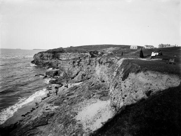 Hayle Towans, above Black Cliff, with Godrevy lighthouse in the distance. Photographer: John Charles Burrow