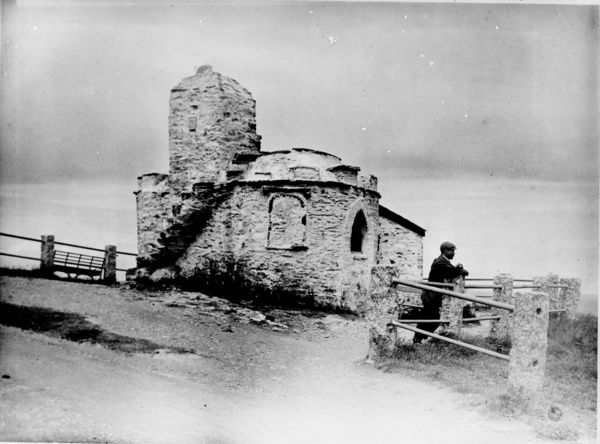 "A view of the Huer's Hut. The hut provided shelter for the Huer, a man who spotted large shoals of fish, more often than not pilchards. He then sounded his horn and shouted ""Heva, Heva"" ( Here they are), to alert the fishermen in the harbour"