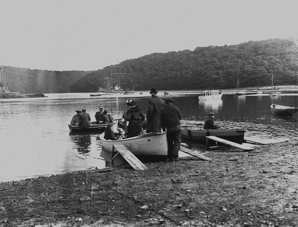 Malpas Ferry landing with people embarking, Malpas, Cornwall. Early 1900s