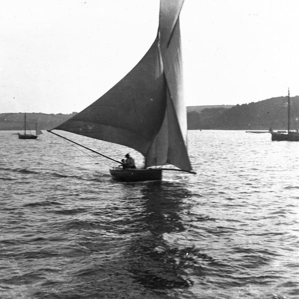 Yacht in full sail with topsail. Photographer: Unknown