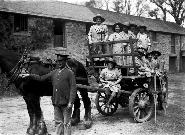 Nine members of the Women's Land Army in working clothes, on a horse-drawn waggon at Tregavethan Farm, a Women's Land Army training centre. The names of the women are as follows: back row standing Ms. Trejeweth, Mrs Ford, Ms. Brown, possibly Ms