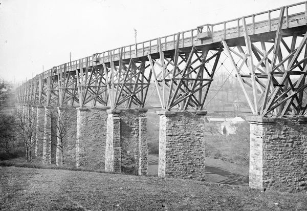 General view of the Brunel stone and timber Moresk Viaduct also known as the Truro viaduct. It was replaced by a second stone viaduct built alongside which opened on the 14th February 1904