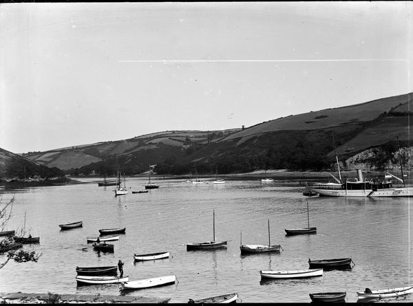 Small craft and unidentified steam yacht at the mouth of the River Lerryn, Fowey, Cornwall. Photographer: Arthur William Jordan