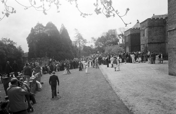 Crowds of people at Prideaux Place on 'Obby 'Oss Day