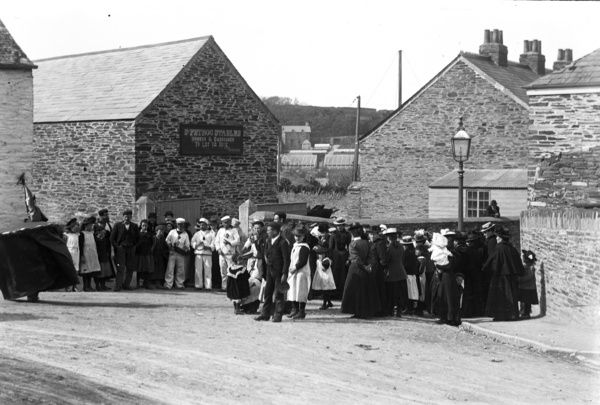 Obby 'oss outside St Petroc stables (New Street). Photographer: Unknown