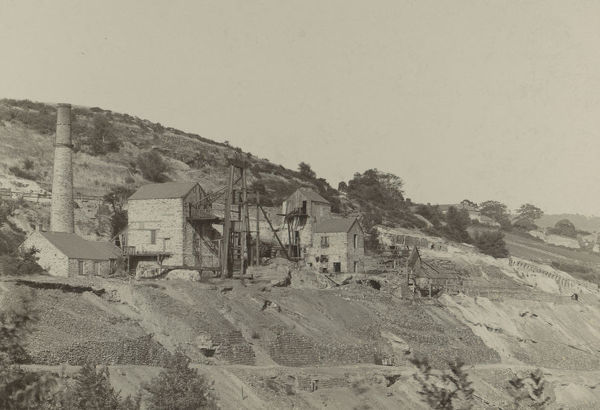 Surface view of Okel Tor Mine from the West. Part of the A.K. Hamilton Jenkin collection. Photographer: Unknown