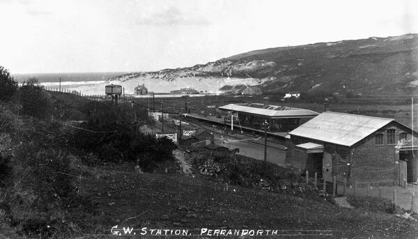 A view over Perranporth railway station. The station was the terminus of the line from 6 July 1903 until completion of the line to Newquay on 2 January 1905