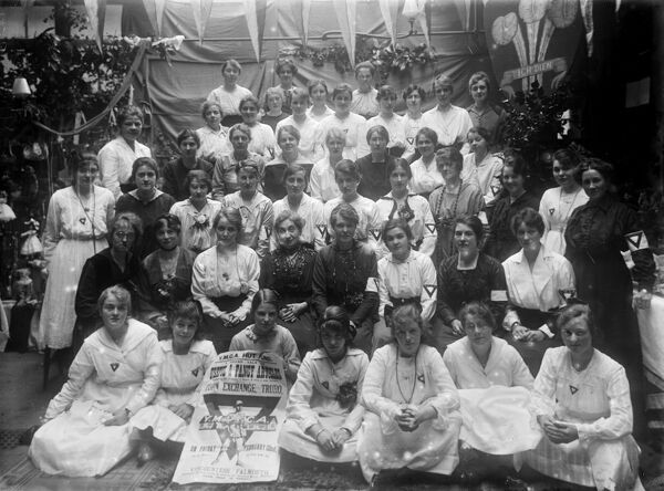 Women advertising a sale of goods to raise funds for YMCA Hut. Photographer: Arthur William Jordan