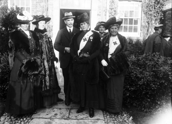 Probably the opening of the hospital on 18th January 1916. The group includes Lady Falmouth. Photographer: Arthur William Jordan