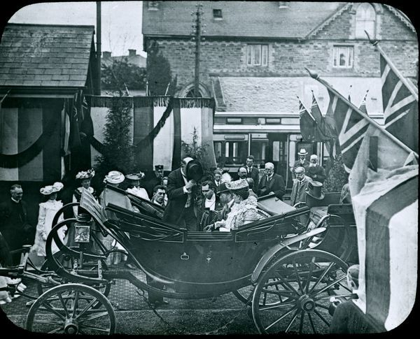 The Royal visit in 1903 by the Prince of Wales (later King George V) and Princess Mary, leaving the station at Grampound Road in an open carriage