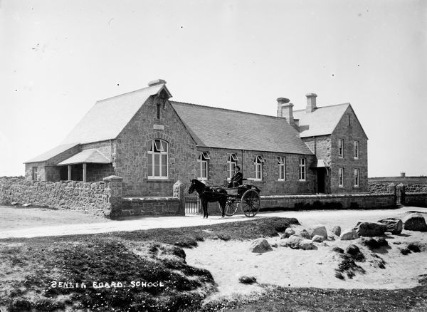 Sennen Churchtown Board School, built 1880, with horse and trap outside. Photographer: Unknown