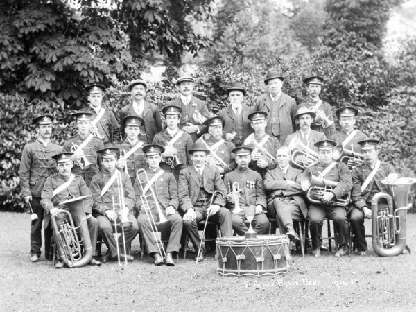 St Agnes Brass Band with silver trophy resting on the bass drum. Photographer: Unknown