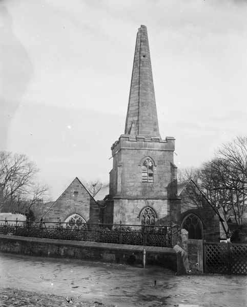 Church from west end showing spire after being struck by lightning, 15th March 1905. Photographer: Arthur Philp