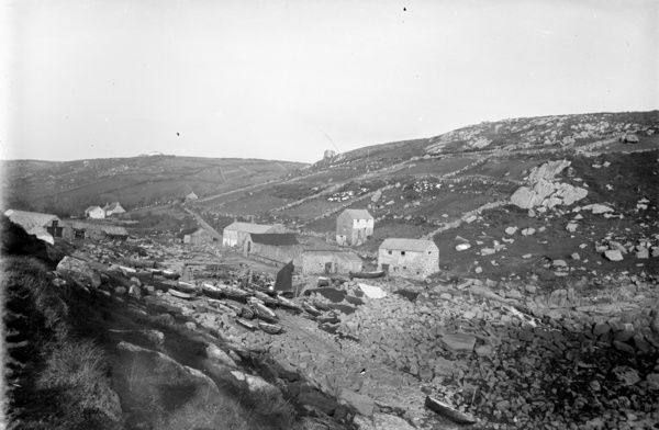 Penberth Cove with capstan, looking landwards at St Buryan, Cornwall. Photographer: Unknown