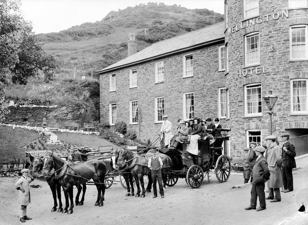 The Coach driver is Daniel Squire and the ostler (employed at the hotel to look after the horses) is Ernest Henry Squire. Richard Pickard, in the centre, standing with his back to horses, was a porter at the hotel. He was born in 1869 at Boscastle
