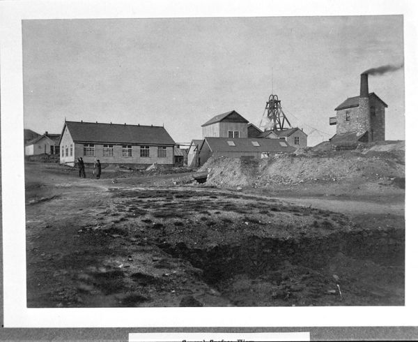 Surface view. In 1897 part of the property was transferred to Camborne School of Mines as the (later) King Edward VII mine. Photographer J. C. Burrow