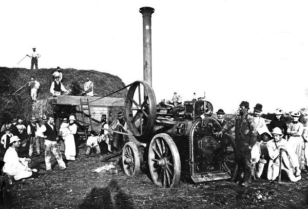 Threshing machine driven by a steam engine with a large number of people, men, women and children. The engine is probably a Marshall built at Gainsborough, Lincolnshire