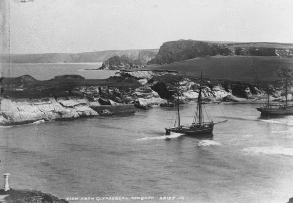 Two ships in the bay at Porth. The wall in the centre of the photograph was protecting the old shipyard used for building vessels, not for trading. The bridge to Porth Island can also be seen. Photographer: J. Valentine