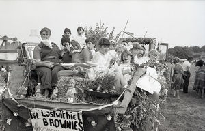 1st Lostwithiel Brownies carnival float, Lostwithiel, Cornwall. July 1982