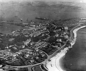 Aerial view over Gyllyngvase and part of the docks. Cornwall. Around 1925