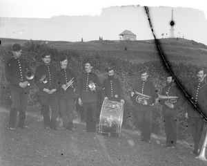 Band at Dennis Hill, Padstow, Cornwall. Early 1900s