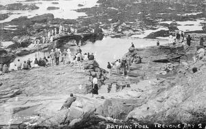 The bathing pool at Newtrain Bay, Trevone, Padstow, Cornwall. Early 1900s