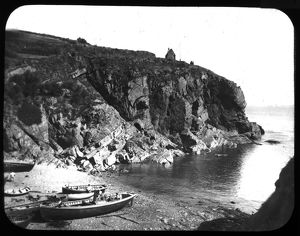Boats on the beach at Cadgwith, Cornwall. Late 1800s