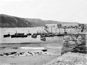 Boats in Gorran Haven harbour, Cornwall. 7th June 1909