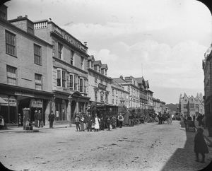 Boscawen Street view from west end looking east, Truro, Cornwall. Around 1900