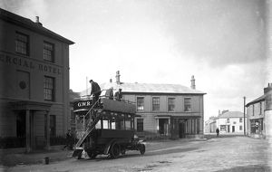 Bus outside the Commercial Hotel, St Just in Penwith, Cornwall. Early 1900s